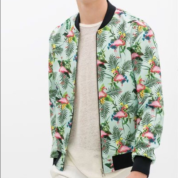 191dcc392 Zara Men Flamingo Print Bomber Jacket